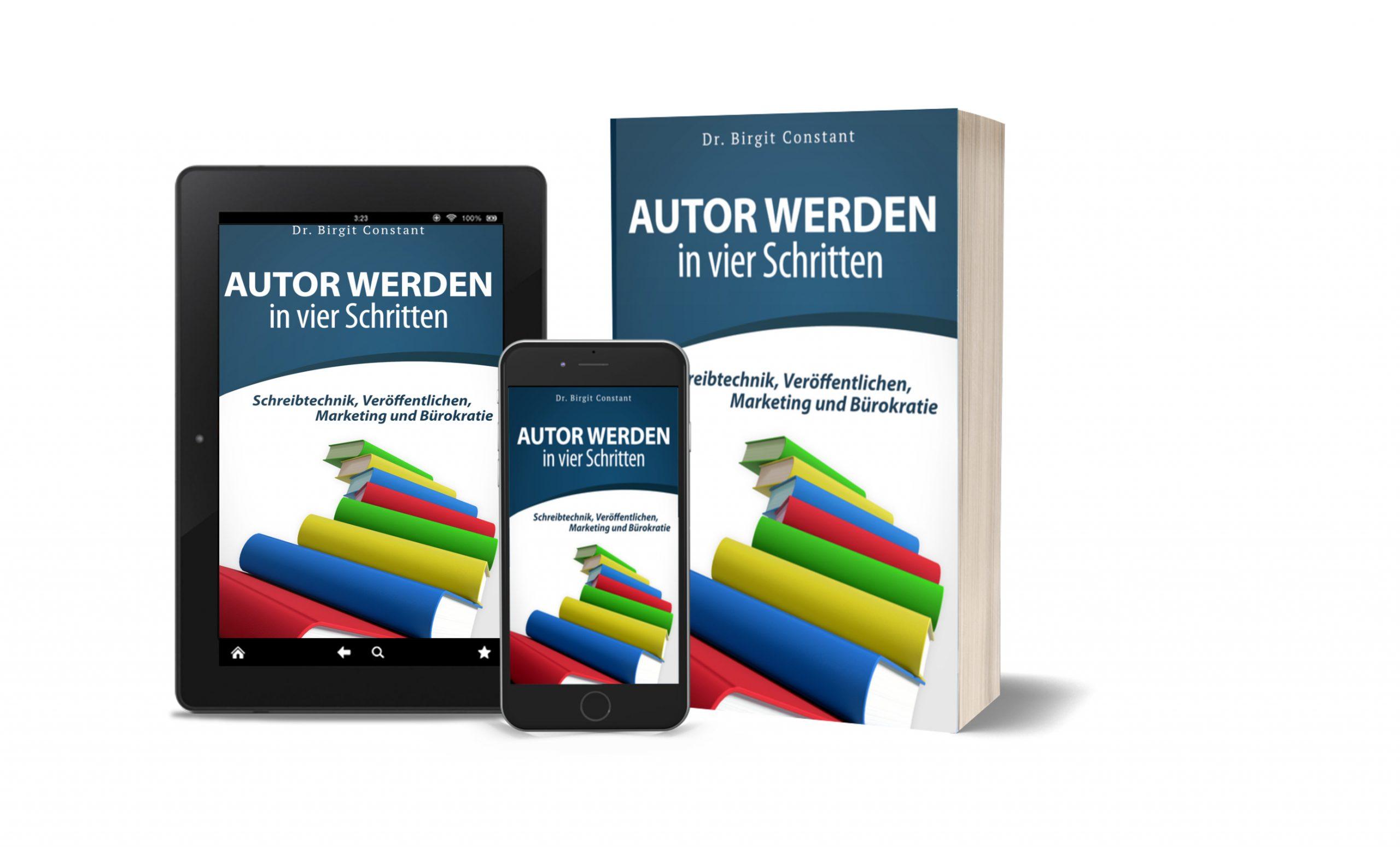 """3d-Mockups von """"Autor werden in vier Schritten"""""""