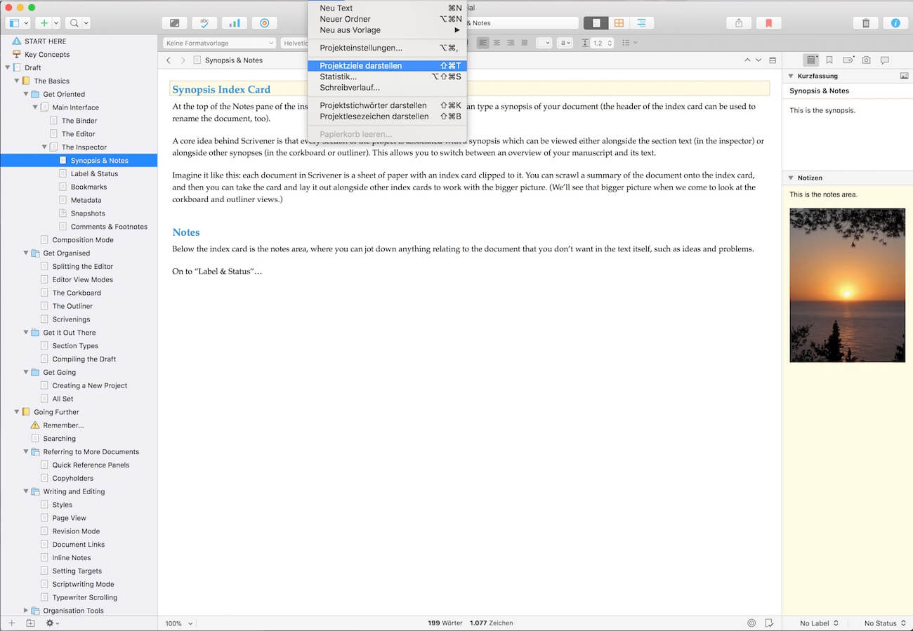 Scrivener Projektziele anzeigen